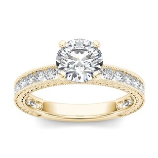 De Couer 14k Yellow Gold 1 1/2ct TDW Diamond Classic Engagement Ring