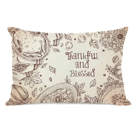 Thankful And Blessed - Tan Throw Pillow by OBC