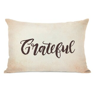 Grateful - Tan Throw Pillow by OBC
