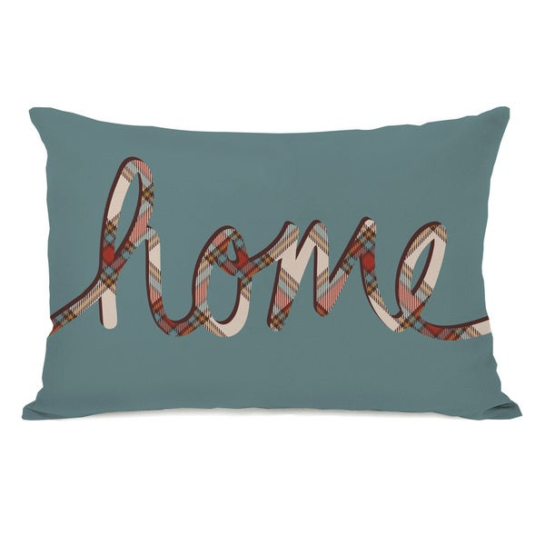 Plaid Home - Dusty Blue Throw Pillow by OBC