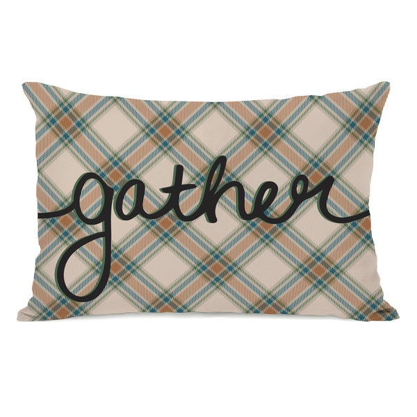 Plaid Gather - Forest Green Throw Pillow by OBC
