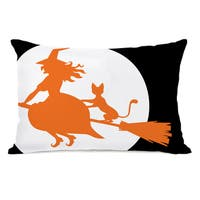 Witch's Best Friend - Black Orange White Throw Pillow by OBC