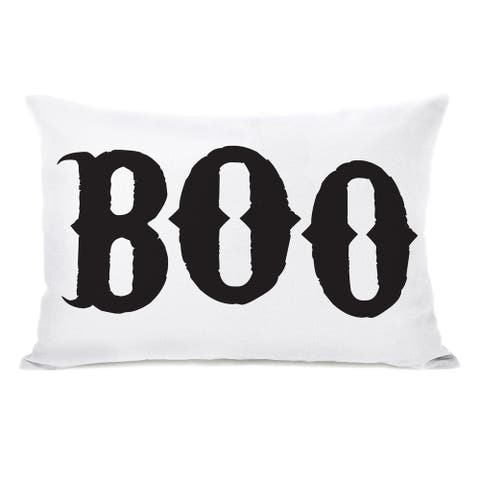Boo - White Black Throw Pillow by OBC