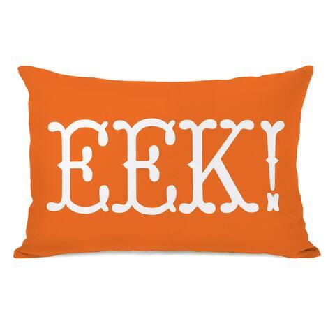 EEK Text - Orange Black Throw Pillow by OBC