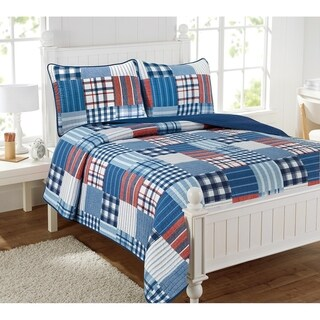 Link to Hudson Patchwork Blue Plaid 3-Piece Reversible Cotton Quilt Set Similar Items in Kids Quilts & Coverlets