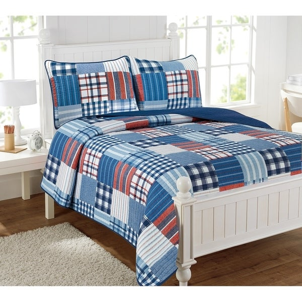 Hudson Patchwork Blue Plaid 3-Piece Reversible Cotton Quilt Set. Opens flyout.