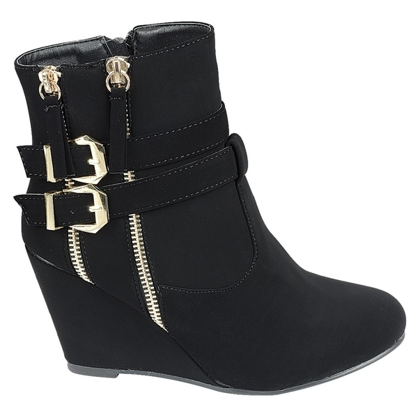FM04 Women's Zipper Ankle Strap Buckle Wrapped Wedge Heel Ankle Booties