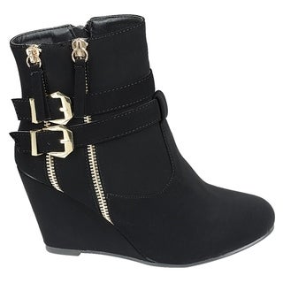 FOREVER FM04 Women's Zipper Ankle Strap Buckle Wrapped Wedge Heel Ankle Booties