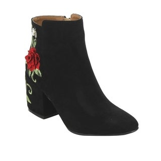QUPID EJ10 Women's Floral Embroidered Wrapped Chunky Heel Ankle Booties