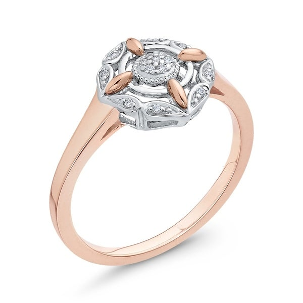 G-H,I2-I3 3 Diamond Promise Ring in 10K Pink Gold Size-4.75 1//10 cttw,