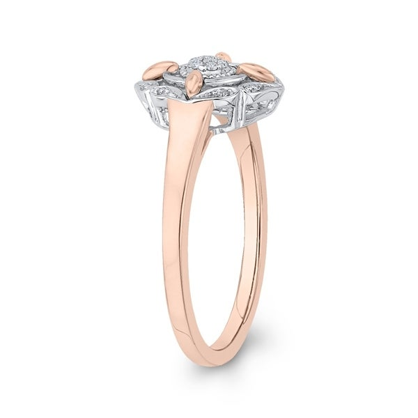 3 Diamond Promise Ring in 14K Pink Gold Size-9 G-H,I2-I3 1//10 cttw,