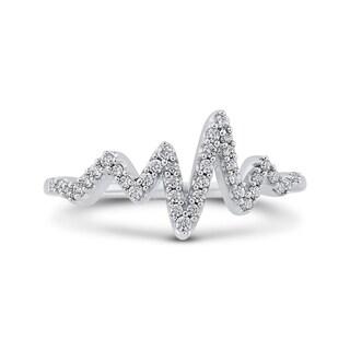 10K White Gold 1/5ct TDW Diamond Heart Beat Ring (J-K, I1-I2)