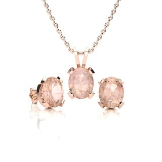 3 Carat Oval Shape Morganite Necklace and Earring Set In 14K Rose Gold Over Sterling Silver