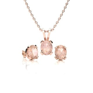 1 1/4 Carat Oval Shape Morganite Necklace and Earring Set In 14K Rose Gold Over Sterling Silver