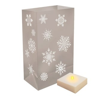 Battery Operated Luminaria Kit with Timer- Silver Snowflake (6 Count)