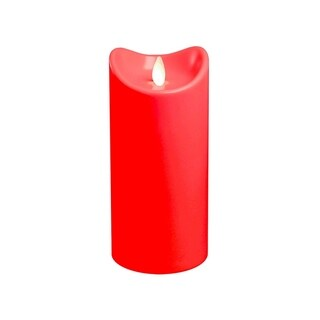 Battery Operated Pillar Candle with Moving Flame- Red