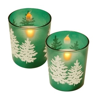 LED Wax Candle in Green Pine Glass (2 Count)
