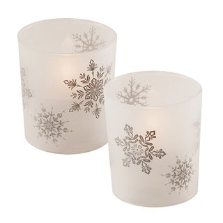LED Wax Candle in Snowflake Glass (2 Count)
