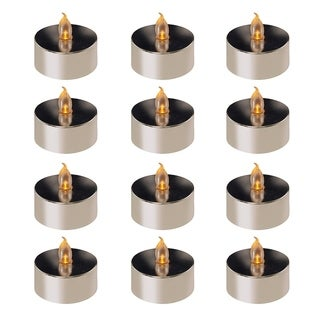 Silver Orchid Starke Battery Operated Silver Plated LED Tea Lights (12 Count)