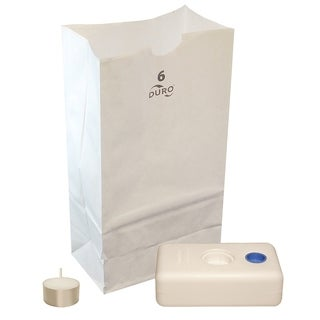 Neighborhood Luminaria Kit- 100 White Luminaria Bags, 100 Extended Burn Tea Lights, 100 LumaBases