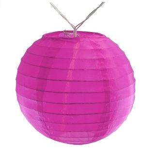 """Battery Operated String Light with 6"""" Nylon Lanterns - Fuchsia (10 Count)"""
