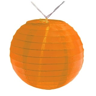 "Battery Operated String Light with 6"" Nylon Lanterns - Orange (10 Count)"