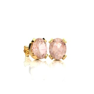3/4 Carat Oval Shape Morganite Stud Earrings In 14K Yellow Gold Over Sterling Silver - Pink