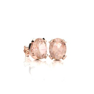 3/4 Carat Oval Shape Morganite Stud Earrings In 14K Rose Gold Over Sterling Silver - Pink