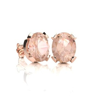 2 Carat Oval Shape Morganite Stud Earrings In 14K Rose Gold Over Sterling Silver - Pink