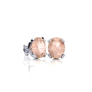 3/4 Carat Oval Shape Morganite Stud Earrings In Sterling Silver - Pink