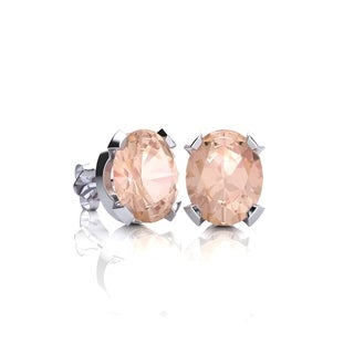 1 1/4 Carat Oval Shape Morganite Stud Earrings In Sterling Silver - Pink