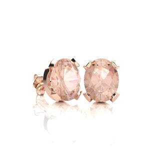 1 1/4 Carat Oval Shape Morganite Stud Earrings In 14K Rose Gold Over Sterling Silver - Pink