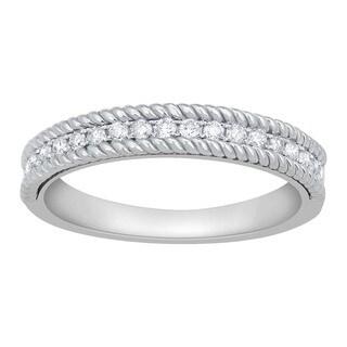 14k White Gold 1/4ct TDW Diamond Milgrain Stackable Wedding Band