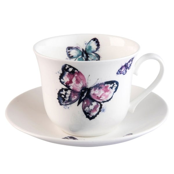 Roy Kirkham Breakfast Cups & Saucers - Harmony Butterfly Set of 2