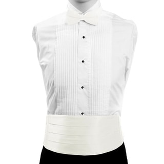 White Formal Men's Silk Cummerbund and Bow Tie Set