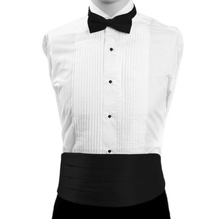 Black Formal Men's Silk Cummerbund and Bow Tie Set