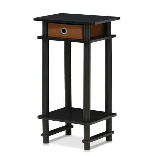 Furinno 17017 Turn-N-Tube Tall End Table with Bin, Espresso/Brown