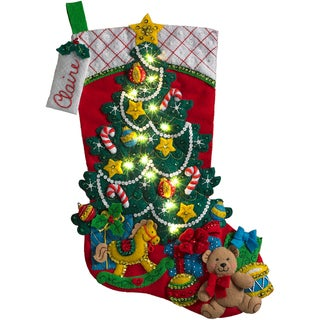 "Christmas Tree Surprise W/ Lights Stocking Felt Applique Kit-18"" Long W/ String Lights"