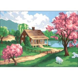 "Needleart World Needlepoint Printed Canvas 12""X16""-Spring Scene"
