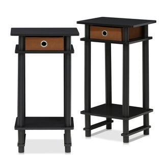 Porch & Den Govalle Tall End Table with Bin, Espresso/Brown, Set of 2