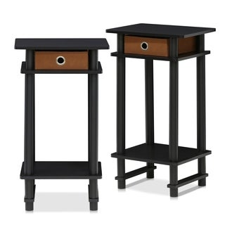 Furinno 2-17017 Brown Wood Turn-N-Tube Tall End Table (Set of 2)