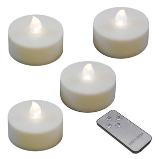 Battery Operated Extra Large Tea Lights with Remote- White (4ct)