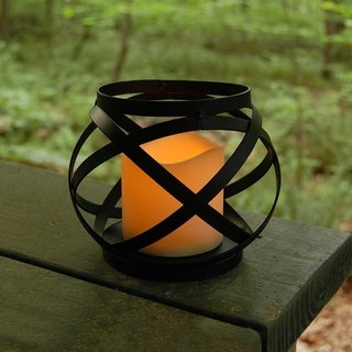 Copper Grove Roger Black Banded Battery Operated Metal Lantern