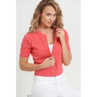 August Silk Zip Front Mini Cardigan