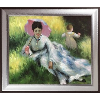 Pierre-Auguste Renoir 'Woman with a Parasol and a Small Child on a Sunlit Hillside' Hand Painted Oil Reproduction