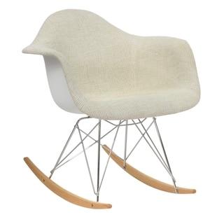 LeisureMod Wilson Twill Fabric Beige Rocking Chair w/ Eiffel Legs