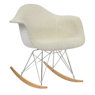 LeisureMod Wilson Twill Fabric Eiffel Beige Rocking Chair
