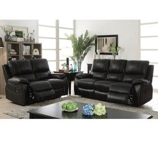 Furniture of America Neler Contemporary 3-piece Black Top Grain Leather Match Reclining Sofa Set
