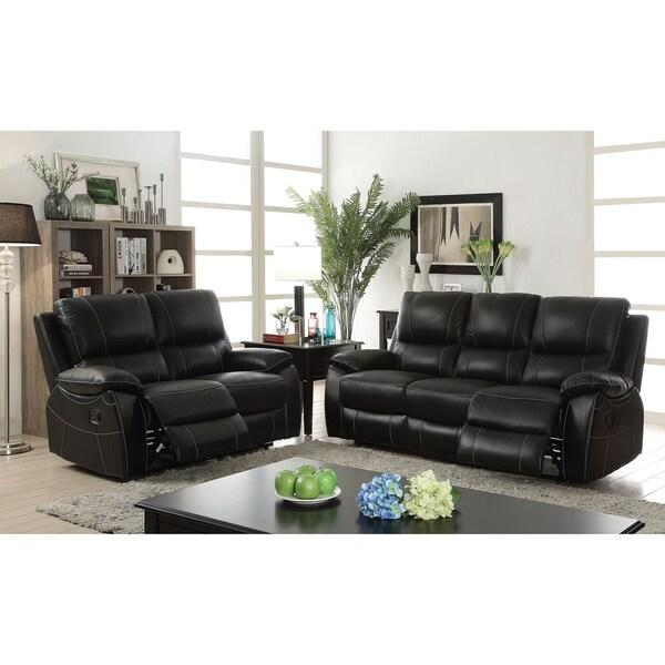 Neler Contemporary Black 2-Piece Reclining Sofa Set by FOA
