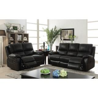 Furniture of America Neler Contemporary 2-piece Black Top Grain Leather Match Reclining Sofa Set